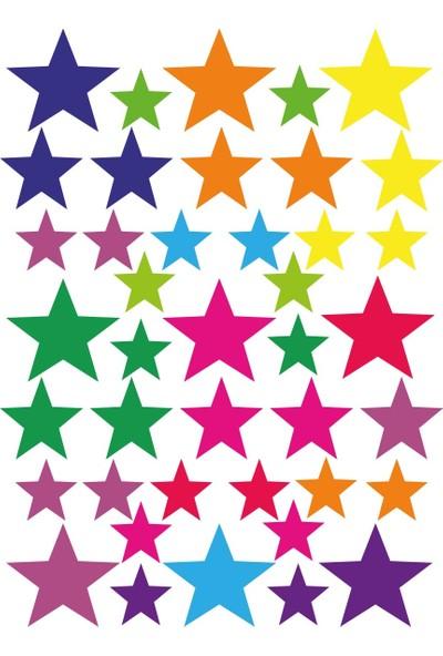 Tilki Dünyası 120 Adet Karışık Renkli Yıldız Çocuk ve Bebek Odası Sticker