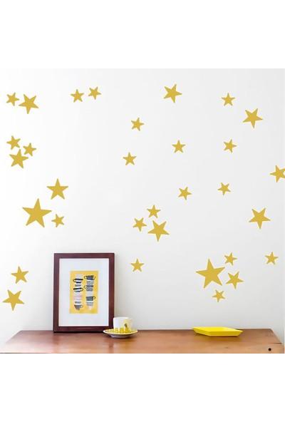 Tilki Dünyası 120 Adet Altın Renkli Yıldızlar Çocuk ve Bebek Odası Sticker