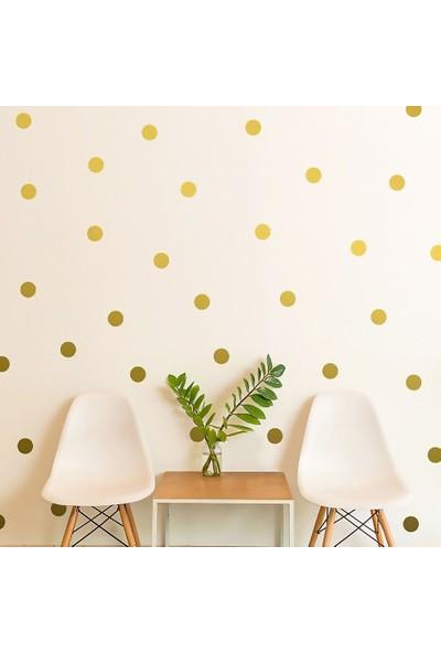 Tilki Dünyası 148 Adet Altın Renk Puantiye Bebek ve Çocuk Odası Duvar Sticker