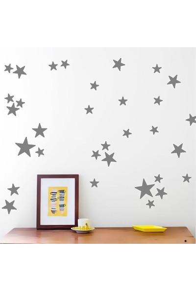 Tilki Dünyası 66 Adet Koyu Gri Yıldızlar Çocuk ve Bebek Odası Duvar Sticker