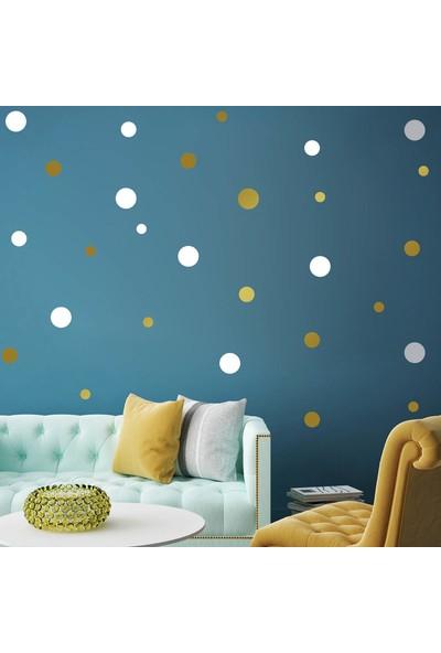 Tilki Dünyası 108 Adet Beyaz ve Altın Renk Puantiyeler Bebek ve Çocuk Odası Duvar Sticker