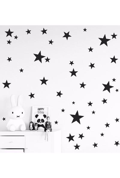 Tilki Dünyası 200 Adet Siyah Yıldızlar Çocuk ve Bebek Odası Duvar Sticker