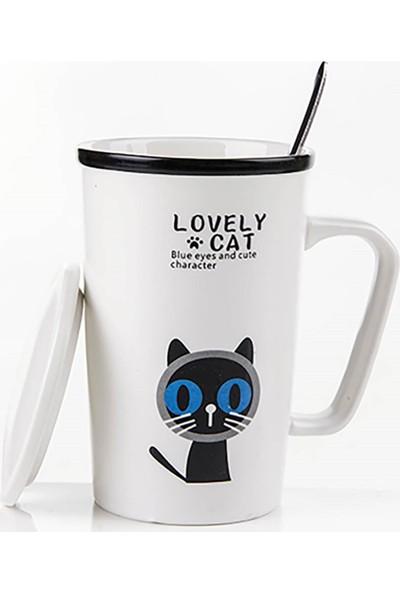 Gift Home Sevimli Kedi Figürlü Kapaklı Ve Kaşıklı Kupa Bardak