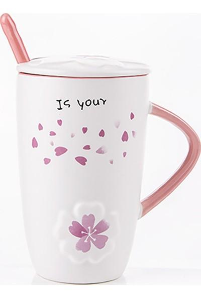Gift Home Çiçek Figürlü Kapaklı Ve Kaşıklı Kupa Bardak