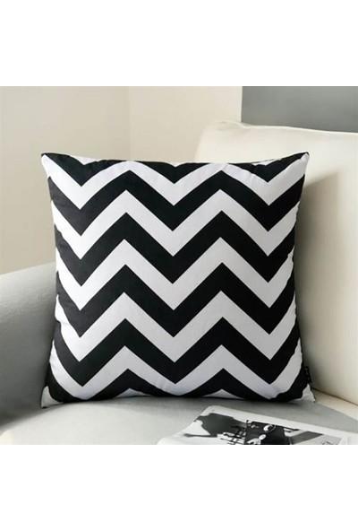 Unicolor Dekoratif Baskılı Kırlent Kılıfı-Siyah Beyaz Zigzag Desenli