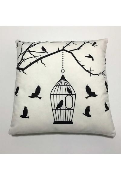 Unicolor Dekoratif Baskılı Kırlent Kılıfı-Daldaki Kuş Kafesi Desenli