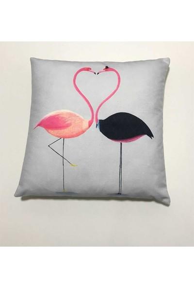 Unicolor Dekoratif Baskılı Kırlent Kılıfı-Aşık Flamingolar Desenli