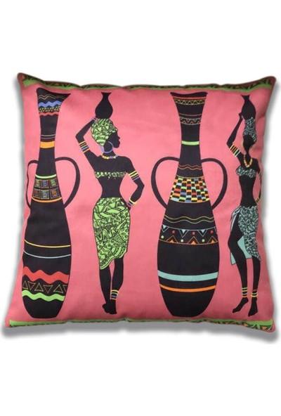 Unicolor Dekoratif Baskılı Kırlent Kılıfı-Afrikalı Kadınlar Desenli