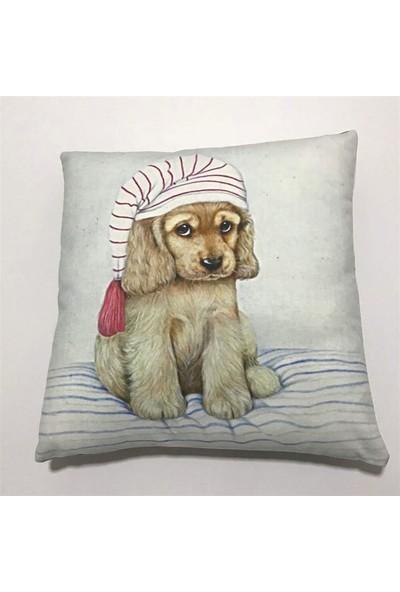 Unicolor Dekoratif Baskılı Kırlent Kılıfı-Kukuletalı Şirin Köpek Desenli