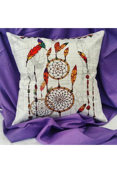 Unicolor Dekoratif Baskılı Kırlent Kılıfı-Kuş Tüyleri Desenli-2