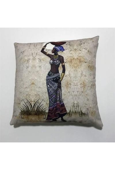 Unicolor Dekoratif Baskılı Kırlent Kılıfı-Afrikalı Kadın Desenli