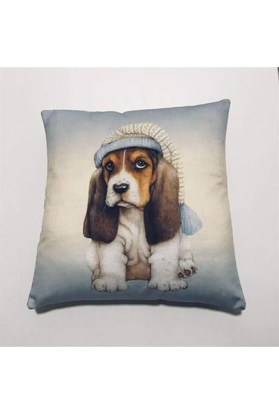 Unicolor Dekoratif Baskılı Kırlent Kılıfı-Kukuletalı Şirin Köpek Desenli-2