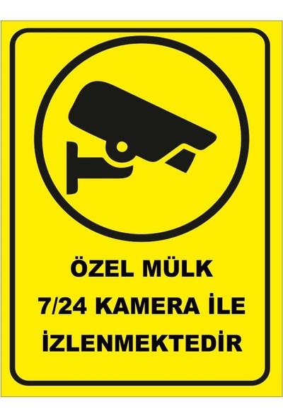 Renkli Reklam Özel Mülk 7/24 Kamera İle İzlenmektedir Levhası (Sac Malzeme)