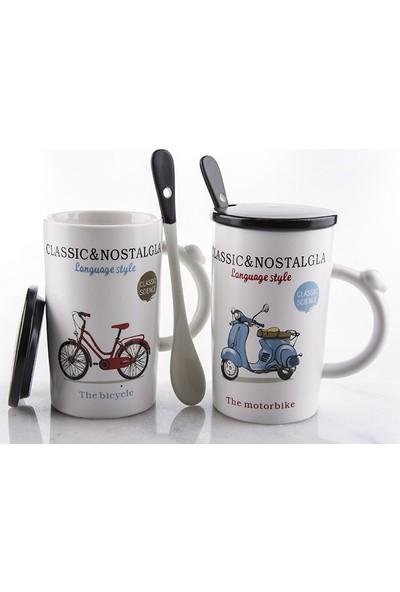 Mukko Home Nostalji Kapaklı Kaşıklı Kupa 2Li Set