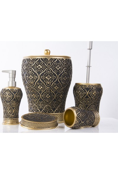 Mukko Home Polyester 5 Parça Banyo Seti / Sultan Altın