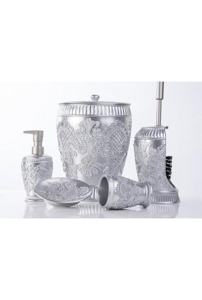 Mukko Home Polyester 5 Parça Banyo Seti / Nakış Gümüş