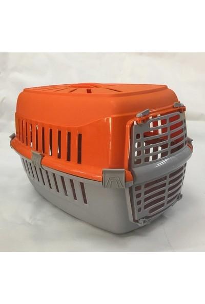 Pet Kedi ve Köpek Taşıma Kabı -Birinci Sınıf Plastik 50x30x30 cm Turuncu