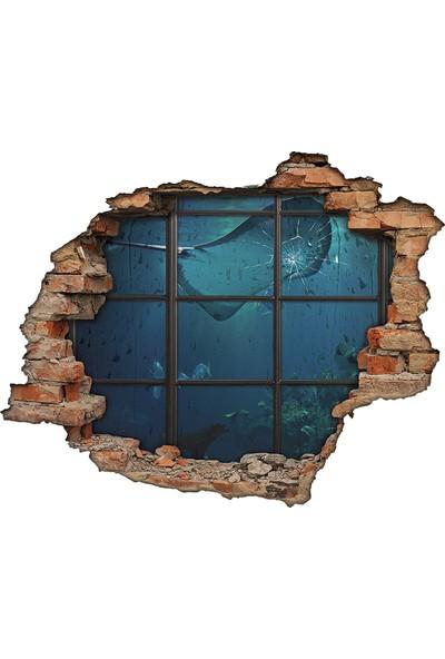 Renkselart Deniz Dibi, Okyanus, Kırık Cam, Tuğla 3D Görünümlü Duvar Sticker