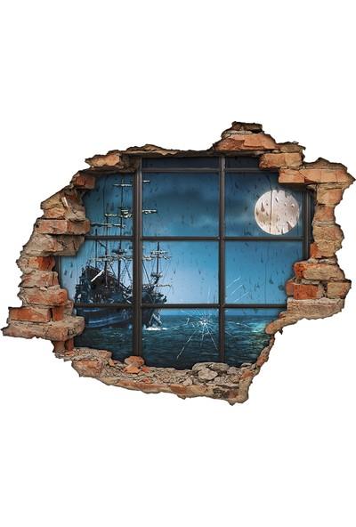 Renkselart Deniz, Gemi Ve Kırık Cam 3D Görünümlü Duvar Sticker
