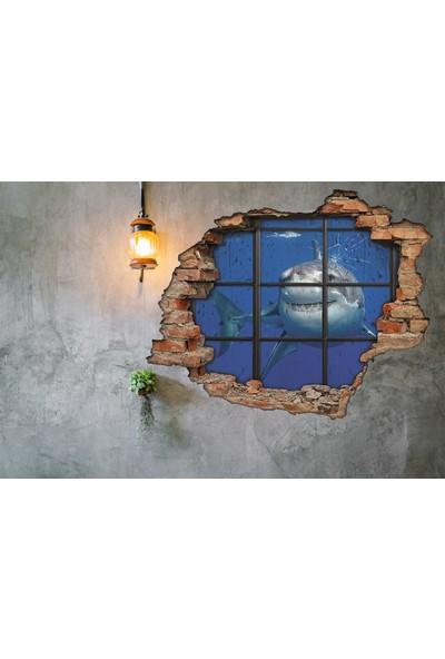 Renkselart Köpek Balığı, Gemi Ve Kırık Cam 3D Görünümlü Duvar Sticker