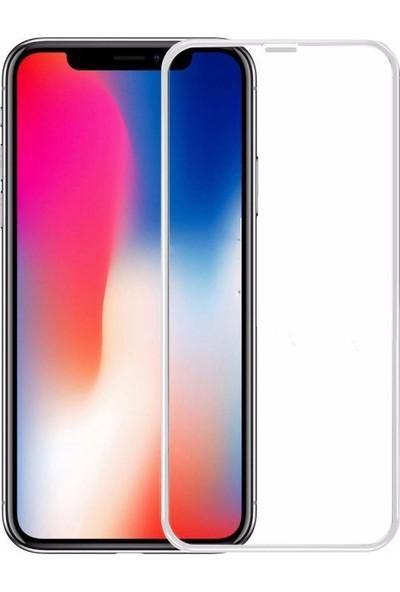 Case 4U Apple iPhone X 3D Kavisli Temperli Cam Ekran Koruyucu Film Beyaz