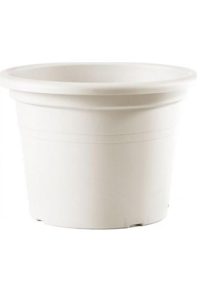 Teraplast Cilindro Colour 30 Polietilen Saksı - Beyaz