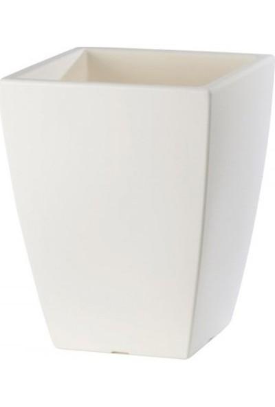 Teraplast Quadro Veneto 65 Plastik Saksı - Beyaz