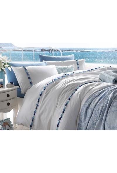 English Home Wave Tassels Pamuklu Tek Kişilik Püsküllü Nevresim 160x220 Cm Mavi