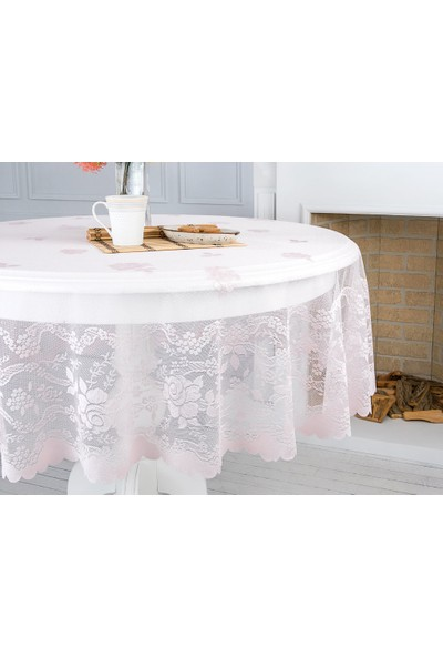 English Home Fancy Roses Örme Masa Örtüsü 180 Cm Pembe