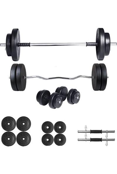Ecgspor 38kg Halter Seti & Dambıl Seti Ağırlık Seti Fitness Seti Z Bar