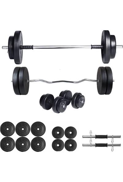 Ecgspor 48kg Halter Seti & Dambıl Seti Ağırlık Seti Fitness Seti Z Bar