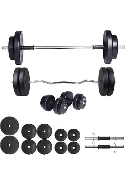 Ecgspor 58kg Halter Seti & Dambıl Seti Ağırlık Seti Fitness Seti Z Bar