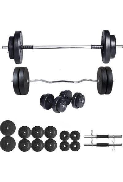 Ecgspor 68kg Halter Seti & Dambıl Seti Ağırlık Seti Fitness Seti Z Bar