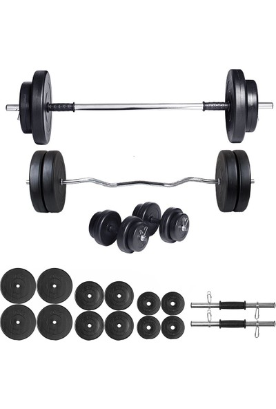 Ecgspor 78kg Halter Seti & Dambıl Seti Ağırlık Seti Fitness Seti Z Bar