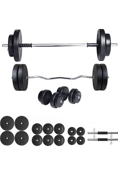 Ecgspor 88kg Halter Seti & Dambıl Seti Ağırlık Seti Fitness Seti Z Bar