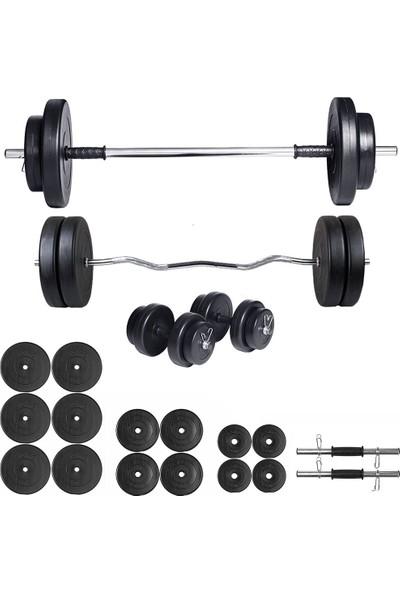 Ecgspor 98kg Halter Seti & Dambıl Seti Ağırlık Seti Fitness Seti Z Bar