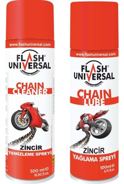2 Li Set Flash Universal Zincir Temizleme Ve Yağlama Spreyi 500 Ml