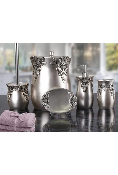 By Selim Dream 5 Parça Polyester Banyo Seti - Gümüş
