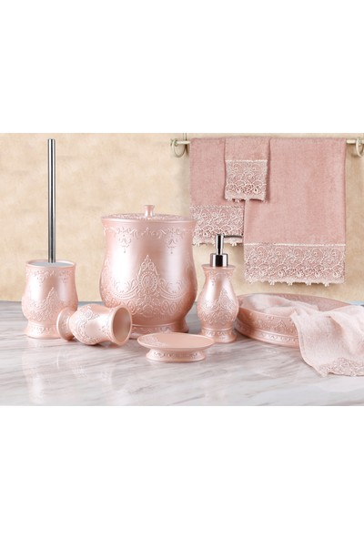 By Selim Queen 5 Parça Polyester Banyo Seti - Rosegold