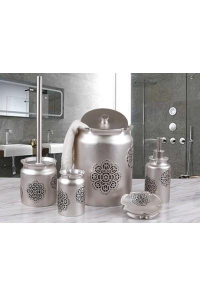 By Selim Astoria 5 Parça Polyester Banyo Seti - Gümüş