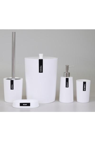 By Selim Troy 5 Parça Polyester Banyo Seti - Beyaz/Siyah