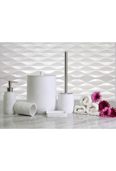 By Selim Pery 5 Parça Polyester Banyo Seti - Beyaz