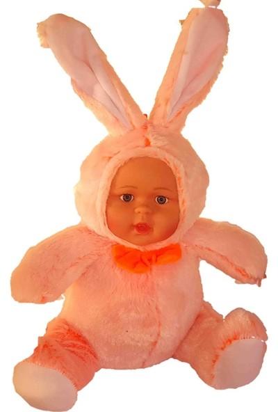 Halley Peluş Kürklü Tavşan 35 cm Oyuncak Bebek Tavşan Bebek Turuncu