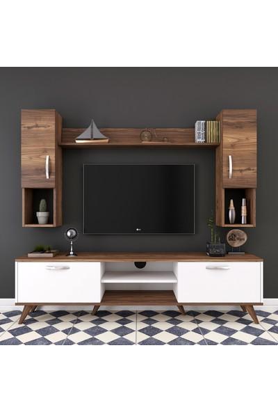 Rani A9 Duvar Raflı Kitaplıklı Tv Ünitesi Duvara Monte Dolaplı Modern Ayaklı Tv Sehpası Beyaz Ceviz M27
