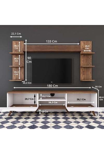 Rani A9 Duvar Raflı Kitaplıklı Tv Ünitesi Duvara Monte Dolaplı Modern Ayaklı Tv Sehpası Beyaz Ceviz M23