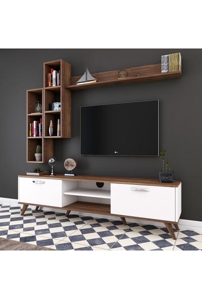 Rani A9 Duvar Raflı Kitaplıklı Tv Ünitesi Duvara Monte Dolaplı Modern Ayaklı Tv Sehpası Beyaz Ceviz M16