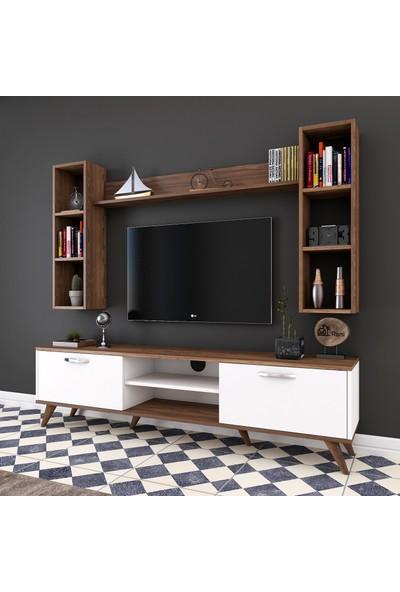 Rani A9 Duvar Raflı Kitaplıklı Tv Ünitesi Duvara Monte Dolaplı Modern Ayaklı Tv Sehpası Beyaz Ceviz M5