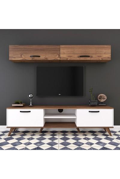 Rani A5 Duvar Raflı Kitaplıklı Tv Ünitesi Duvara Monte Dolaplı Modern Ayaklı Tv Sehpası Beyaz Ceviz M19