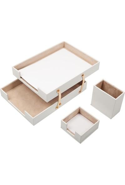 Güner Ofis Deri 3 Parça Masaüstü Seti Seti Beyaz Çiftli Evrak Rafı Kalemlik Ve Notluk
