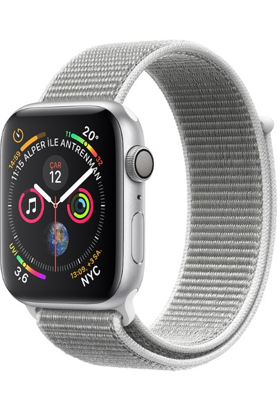Apple Watch Seri 4 40mm GPS Gümüş Rengi Alüminyum Kasave DenizKabuğu SporLoop - (MU652TU/A)